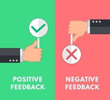 Business hand thumbs up and thumbs down. Negative and positive feedback sign concept. Minimal and simple flat cartoon. Vector illustration