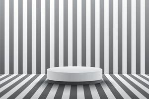 Modern white cylinder podium with black and white stripes  perspective empty room background. Abstract vector rendering 3d shape for advertising product display. minimal scene studio room concept.