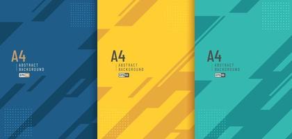 Conjunto de textura de líneas y fondo de color verde amarillo azul geométrico diagonal abstracto con espacio de copia. estilo moderno y minimalista. que puede utilizar para plantilla, cartel, banner web, impresión. vector eps10