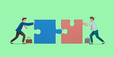 Business concept. 2 businessman pushing the jigsaw puzzle. Symbol of difficulty, ambition, motivation, struggle, achievement. Simple flat cartoon. Vector illustration