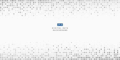 Tecnología de datos digitales abstractos fondo de píxeles de patrón cuadrado negro y gris con espacio de copia. moderno diseño de píxeles de degradado de moda futurista. ilustración vectorial vector