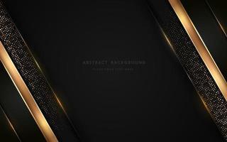 Capas superpuestas geométricas negras de luxurt abstracto con una línea dorada de rayas e iluminación brillante sobre un fondo oscuro. Fondo premium y elegante con espacio de copia. ilustración vectorial vector