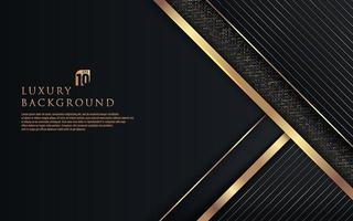 Capas superpuestas geométricas negras premium abstractas con línea dorada de rayas e iluminación brillante sobre fondo oscuro. Fondo de lujo y elegante con espacio de copia. ilustración vectorial vector