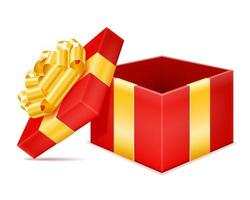 gift box with bow and ribbon stock vector illustration isolated on white background