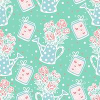 Seamless pattern of watering can with roses, magic jars with hearts, vector print for Valentine's Day, cute floral pattern, delicate turquoise, doodle style.