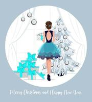 Greeting cards for winter holidays, merry christmas and happy new year,Elegantly dressed girl decorates a Christmas tree,fashion illustration with beautiful girl decorating christmas tree, vector flat