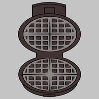 Wafer iron. Wafer -iron icon. Open waffle iron on a grey background with clipping path vector