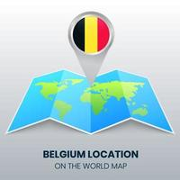 Location Icon Of Belgium On The World Map, Round Pin Icon Of Belgium vector
