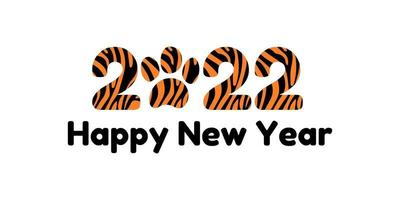 Happy new year 2022. Banner or postcard with year of the tiger with paw vector illustration and lettering with predatory pattern