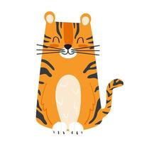 Cute cartoon striped tiger. Children's vector illustration hand drawn isolated on white background