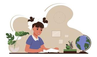 Back to school concept. The girl is sitting at a table with school supplies and studying at books. Flat vector illustration of education