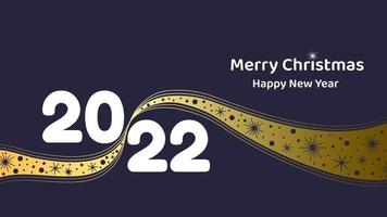 Merry Christmas and New Year 2022. Greeting card or banner with golden ribbon decorated with snowflakes. Flat vector illustration