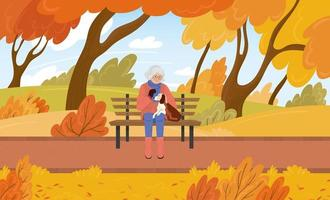 Grandmother sits on a bench with her dog in the fall in the park Cartoon vector illustration