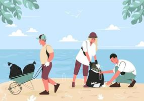 A group of young people are cleaning up trash on the beach. Volunteers women and men clean the embankment from plastic and other waste. Flat vector illustration