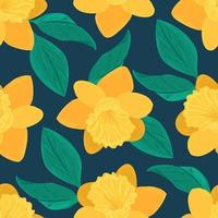 Seamless floral pattern. Vector background of yellow daffodil flower and green leaves