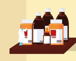 pharmacist and medicines vector