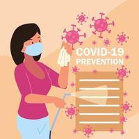mujer covid 19 prevención vector