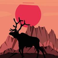 silhouette deer mountains vector