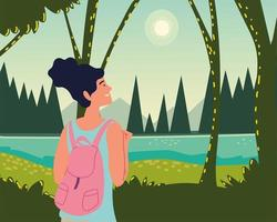 woman forest jungle panorama vector
