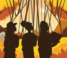 people autumnal forest vector