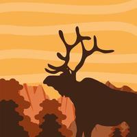 silueta ciervos del bosque vector