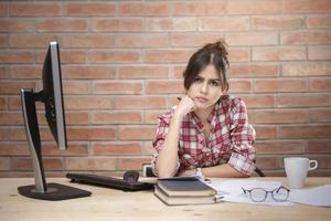 Asian women are stressed out of work photo