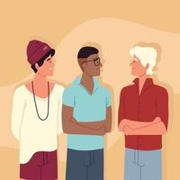 diverse men youth vector
