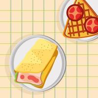 breakfast omelet and waffle vector