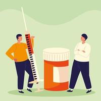 men with syringe and medicine vector
