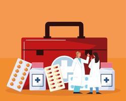 pharmacists medical kit vector
