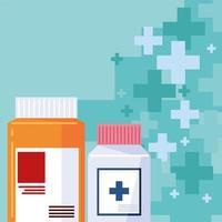 pharmacy medical bottles vector