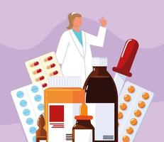 female pharmacist and medicaments vector