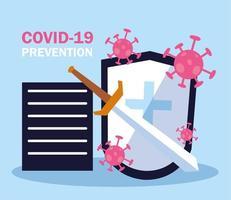 fight covid 19 shield vector