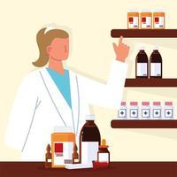 pharmacist serving prescription vector