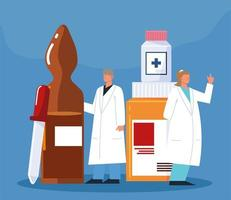 pharmacist characters medicament vector