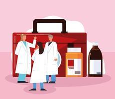 medical staff medicaments vector