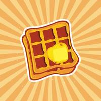 waffle with butter vector