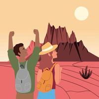 hiker couple on desert vector