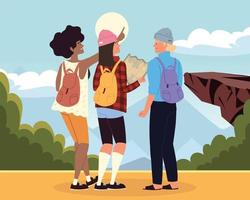 backpackers explore nature vector