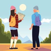 backpackers with map vector