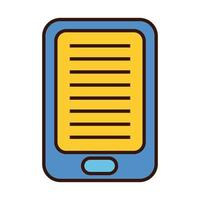 ebook technology in tablet line and fill style icon vector