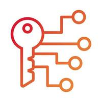 key door security data with circuit gradient style icon vector