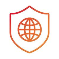 shield secure with sphere browser gradient style icon vector