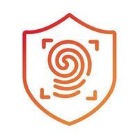escudo seguro con icono de estilo degradado de huellas dactilares vector