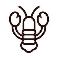 lobster seafood line style icon vector