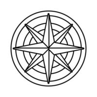 retro compass guide gray line style icon vector