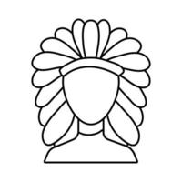 apache with feather hat line style icon vector