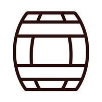 beer barrel wooden oktoberfest line style icon vector
