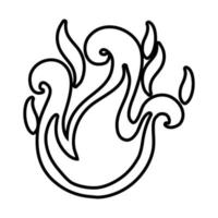 campfire flame line style icon vector