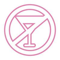 dont drink alcohol signal line style icon vector